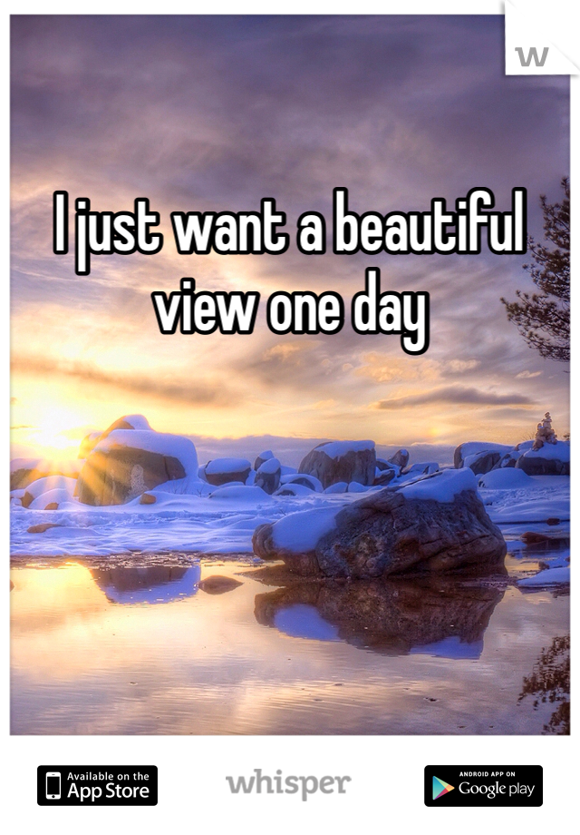 I just want a beautiful view one day