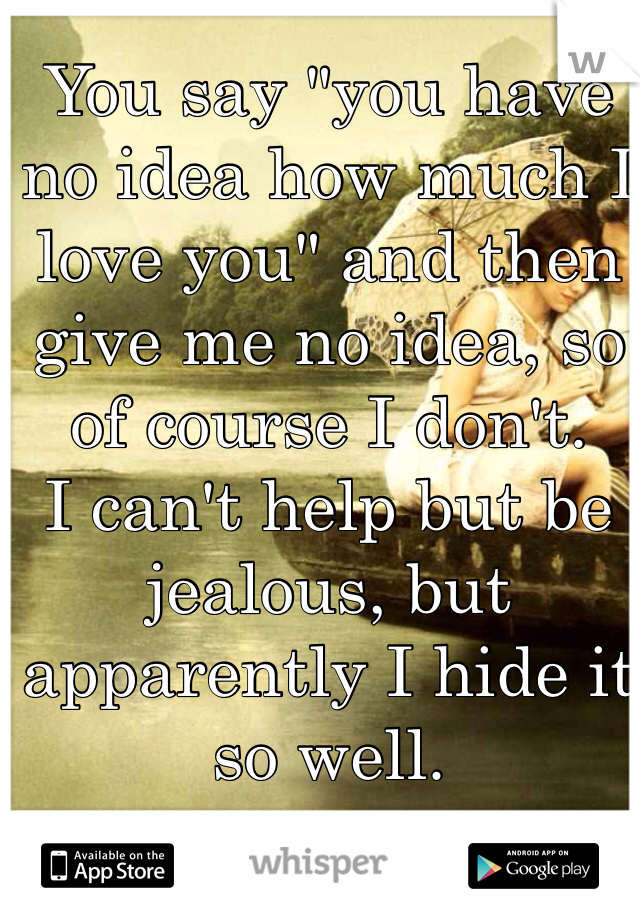 """You say """"you have no idea how much I love you"""" and then give me no idea, so of course I don't. I can't help but be jealous, but apparently I hide it so well."""
