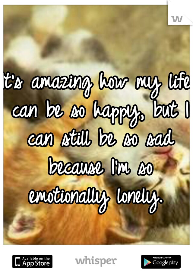 It's amazing how my life can be so happy, but I can still be so sad because I'm so emotionally lonely.