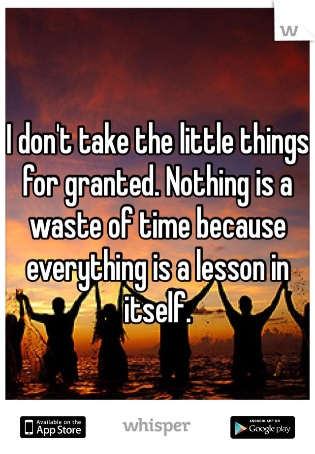 I don't take the little things for granted. Nothing is a waste of time because everything is a lesson in itself.