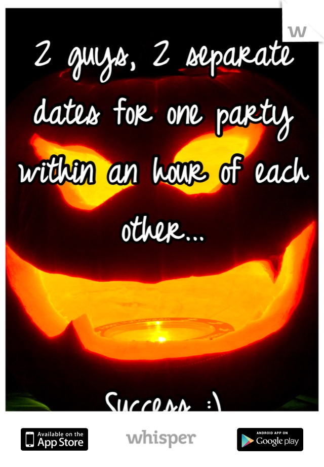 2 guys, 2 separate dates for one party within an hour of each other...   Success :)