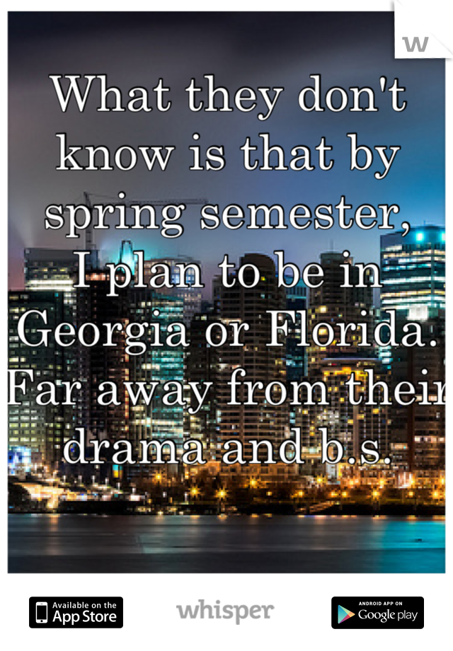 What they don't know is that by spring semester, I plan to be in Georgia or Florida.  Far away from their drama and b.s.