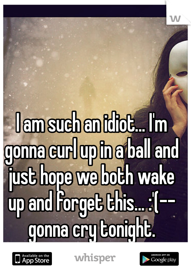 I am such an idiot... I'm gonna curl up in a ball and just hope we both wake up and forget this... :'(-- gonna cry tonight.