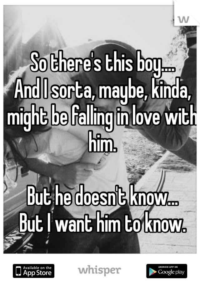 So there's this boy.... And I sorta, maybe, kinda, might be falling in love with him.   But he doesn't know... But I want him to know.