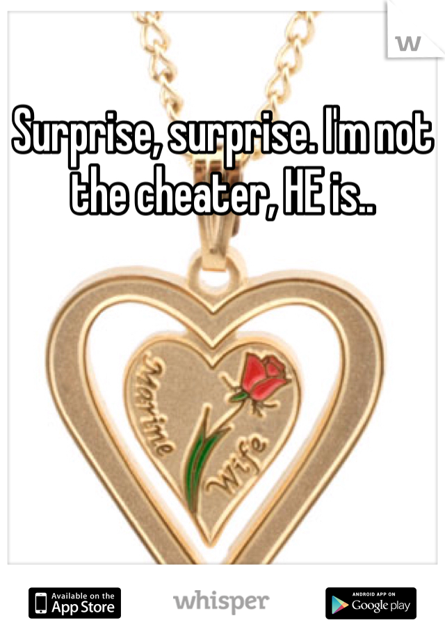 Surprise, surprise. I'm not the cheater, HE is..