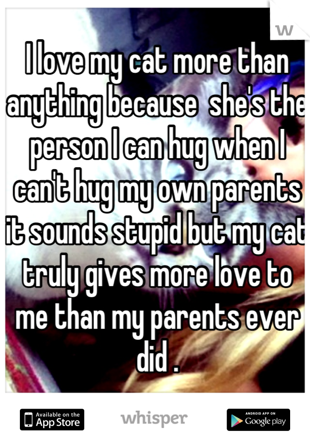 I love my cat more than anything because  she's the person I can hug when I can't hug my own parents it sounds stupid but my cat truly gives more love to me than my parents ever did .