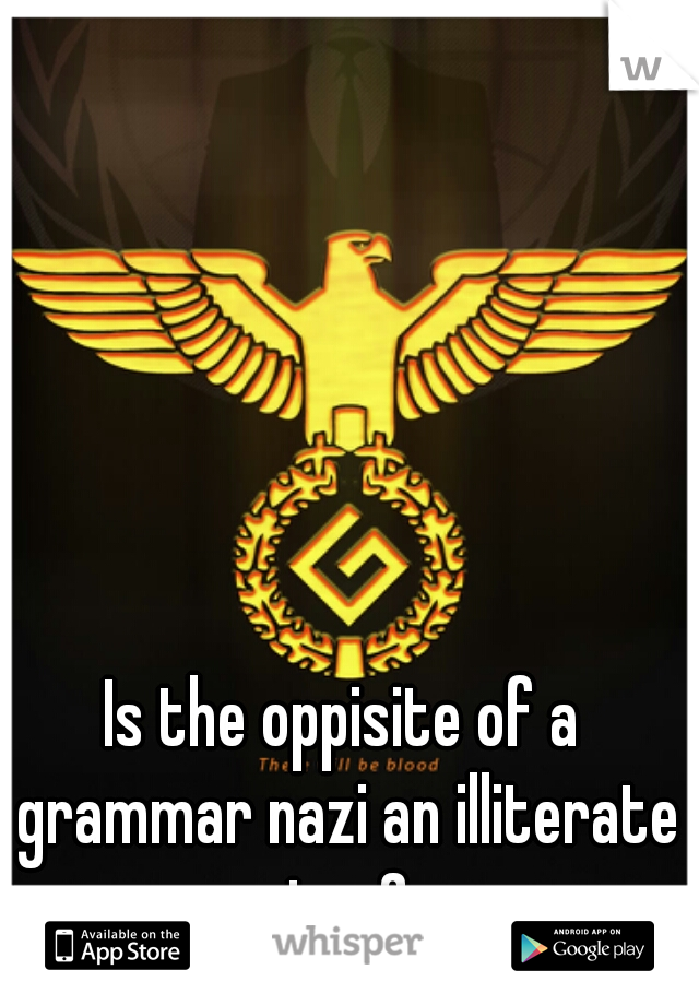 Is the oppisite of a grammar nazi an illiterate jew?