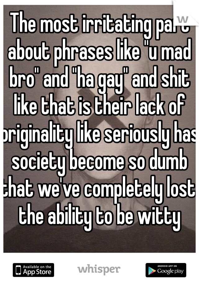 "The most irritating part about phrases like ""u mad bro"" and ""ha gay"" and shit like that is their lack of originality like seriously has society become so dumb that we've completely lost the ability to be witty"