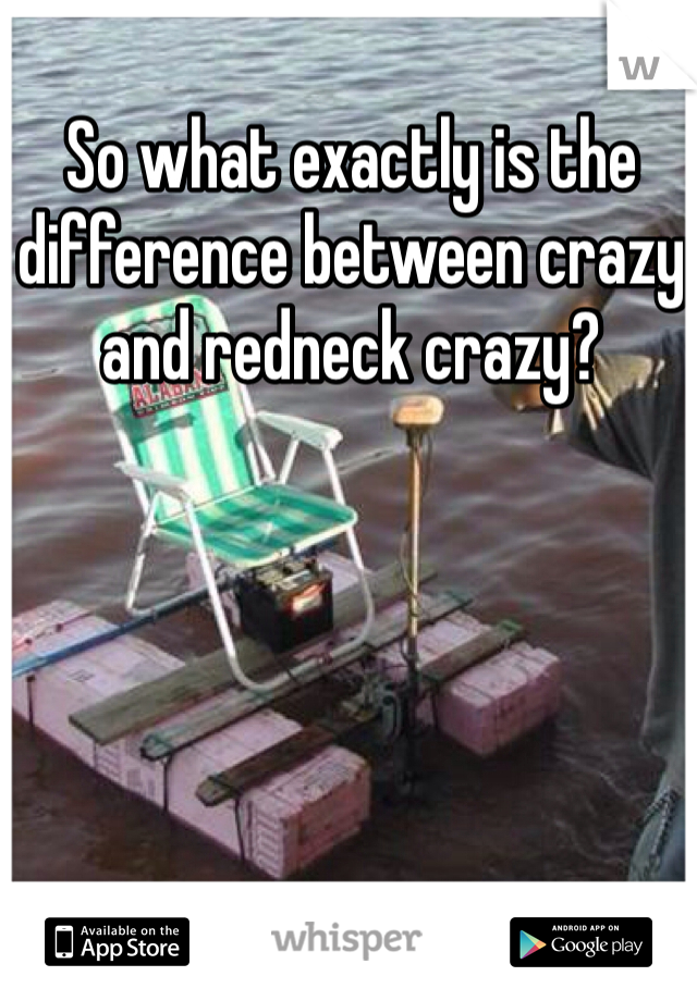 So what exactly is the difference between crazy and redneck crazy?