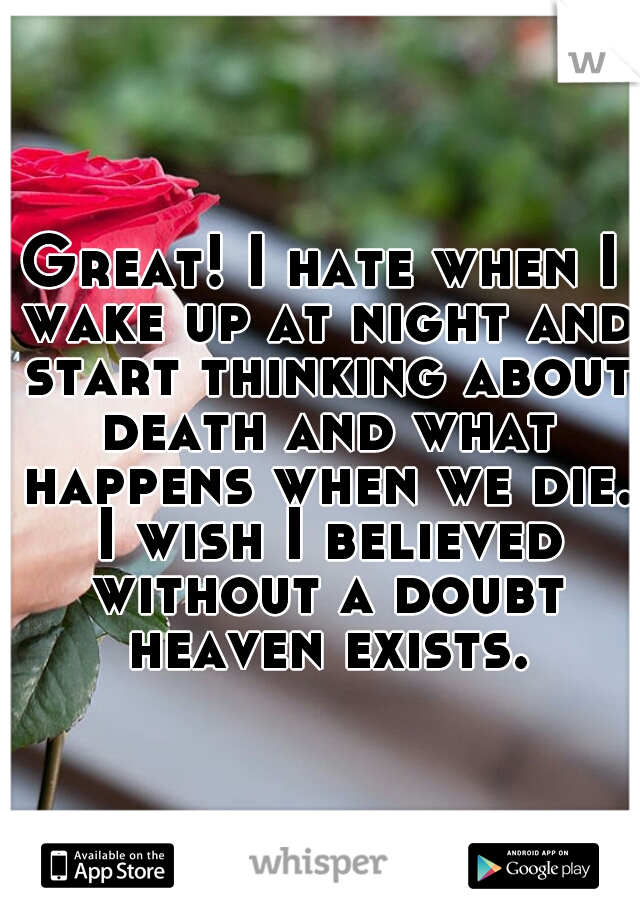 Great! I hate when I wake up at night and start thinking about death and what happens when we die. I wish I believed without a doubt heaven exists.