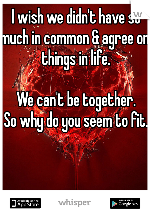 I wish we didn't have so much in common & agree on things in life.   We can't be together.  So why do you seem to fit.
