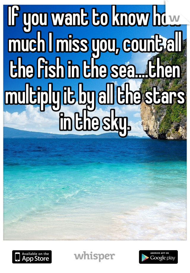 If you want to know how much I miss you, count all the fish in the sea....then multiply it by all the stars in the sky.