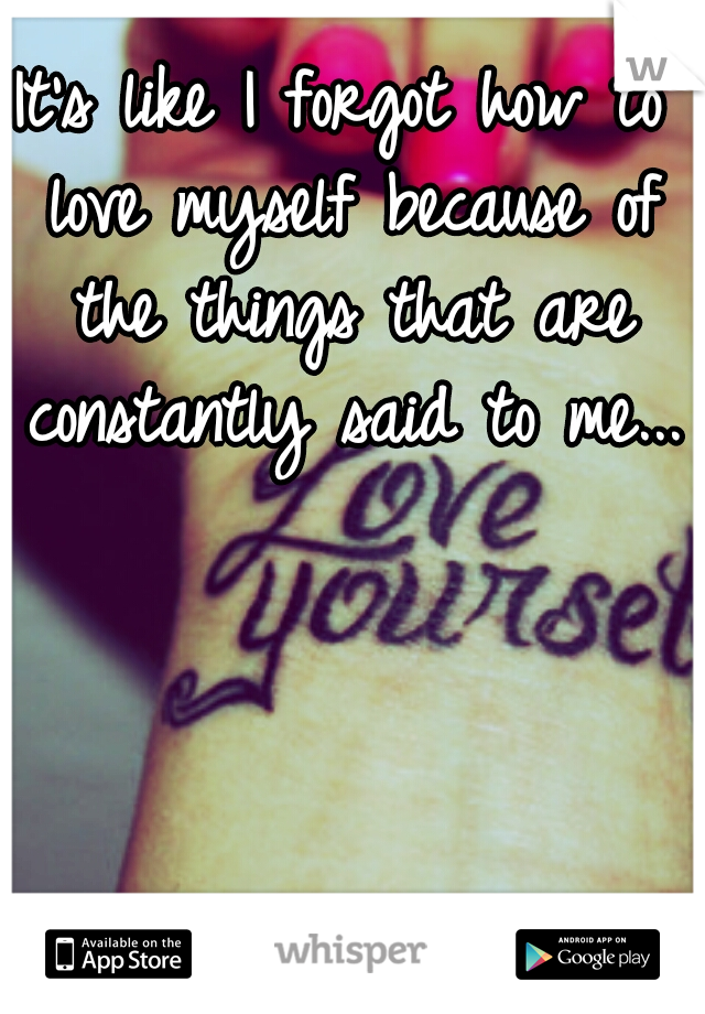 It's like I forgot how to love myself because of the things that are constantly said to me...