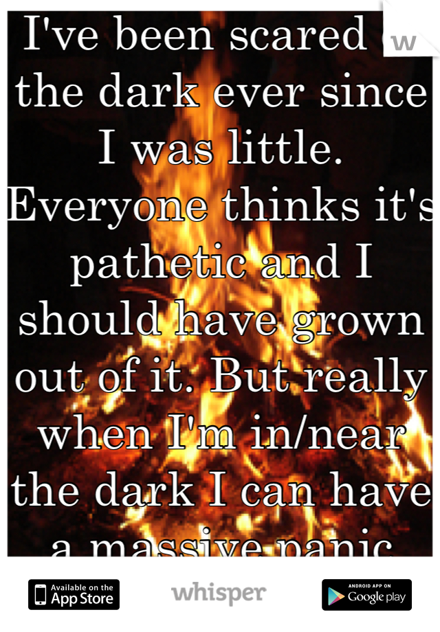 I've been scared of the dark ever since I was little. Everyone thinks it's pathetic and I should have grown out of it. But really when I'm in/near the dark I can have a massive panic attack.