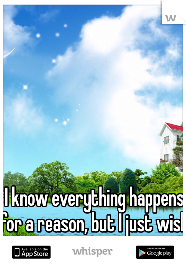 I know everything happens for a reason, but I just wish what that reason is.