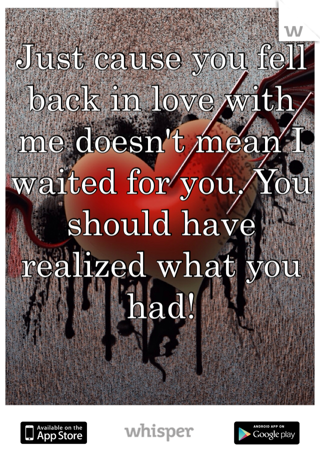 Just cause you fell back in love with me doesn't mean I waited for you. You should have realized what you had!