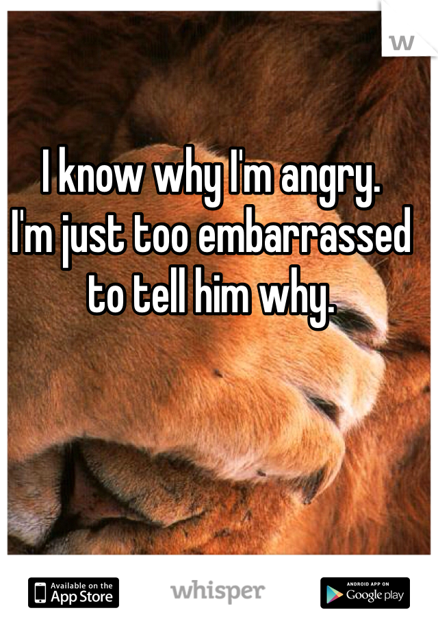 I know why I'm angry. I'm just too embarrassed to tell him why.