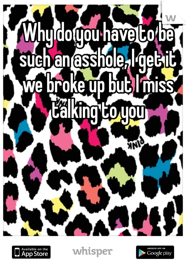 Why do you have to be such an asshole, I get it we broke up but I miss talking to you