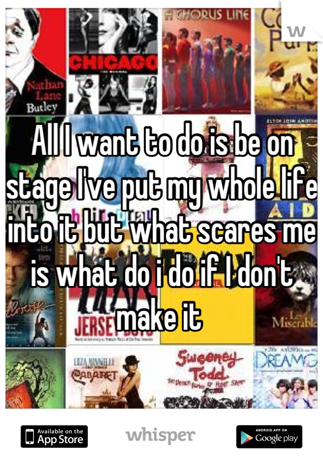 All I want to do is be on stage I've put my whole life into it but what scares me is what do i do if I don't make it