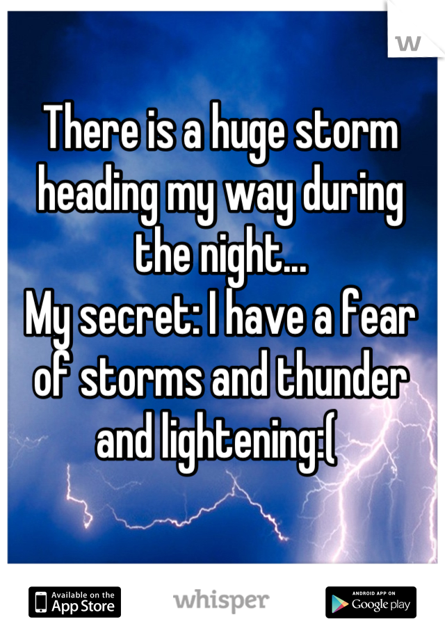 There is a huge storm heading my way during the night... My secret: I have a fear of storms and thunder and lightening:(