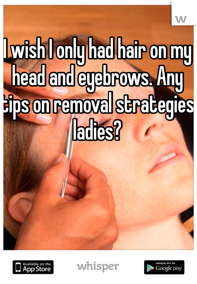 I wish I only had hair on my head and eyebrows. Any tips on removal strategies ladies?
