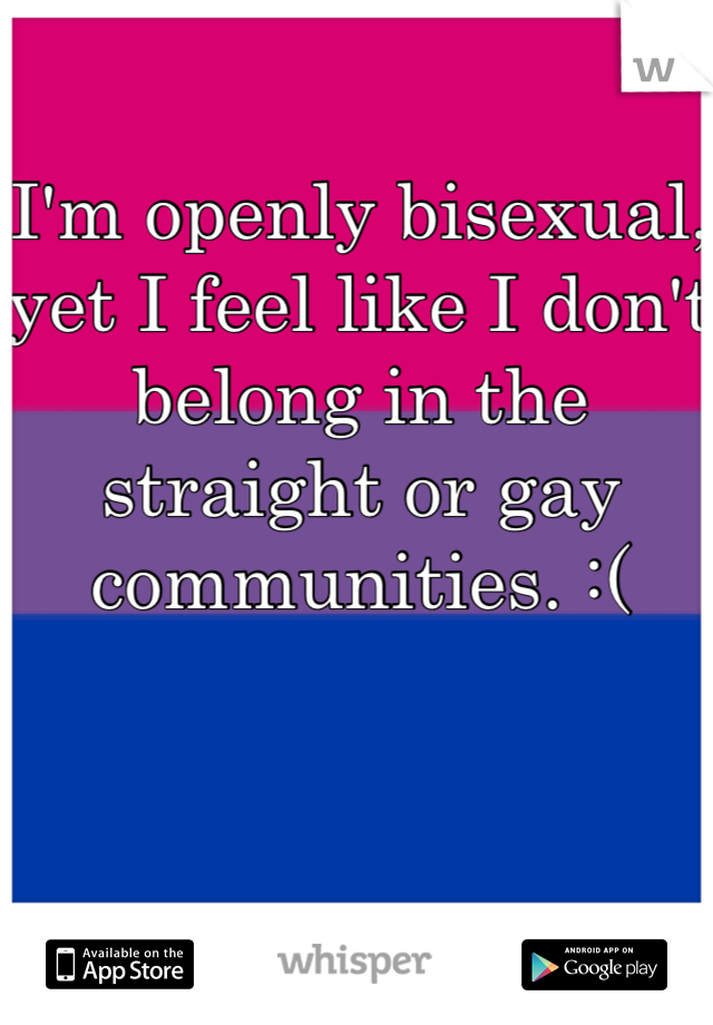 I'm openly bisexual, yet I feel like I don't belong in the straight or gay communities. :(