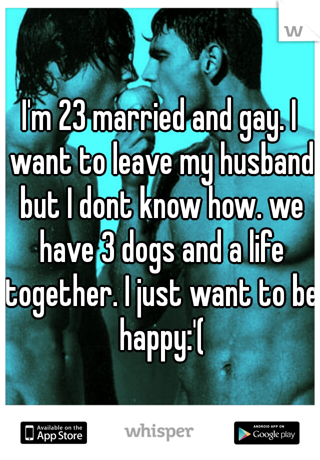 I'm 23 married and gay. I want to leave my husband but I dont know how. we have 3 dogs and a life together. I just want to be happy:'(