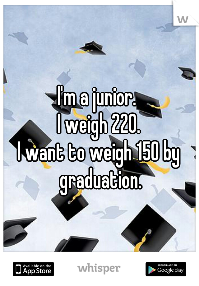 I'm a junior.  I weigh 220. I want to weigh 150 by graduation.