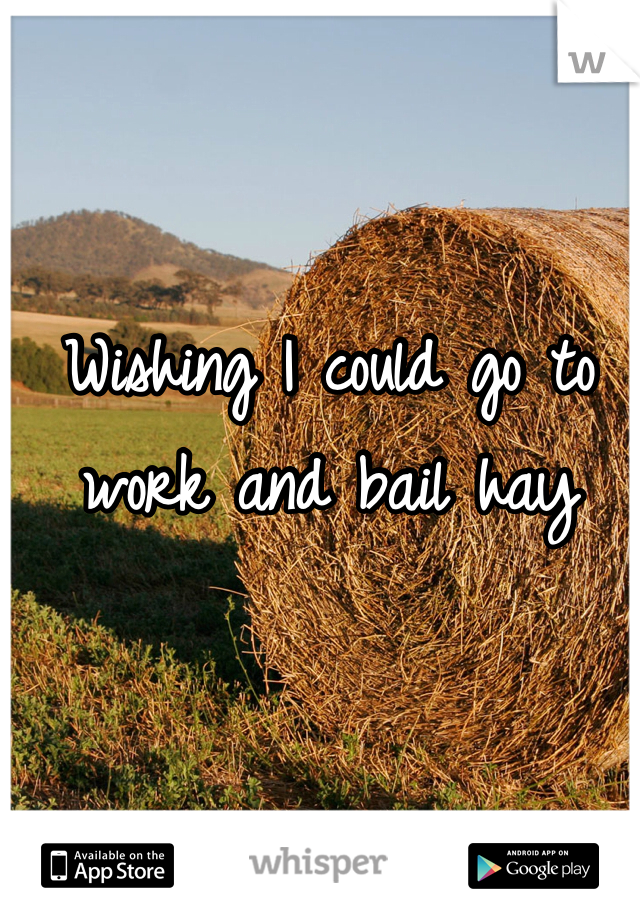 Wishing I could go to work and bail hay