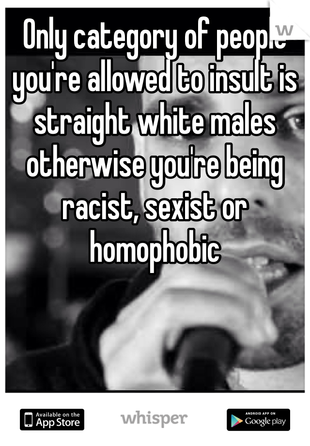 Only category of people you're allowed to insult is straight white males otherwise you're being racist, sexist or homophobic