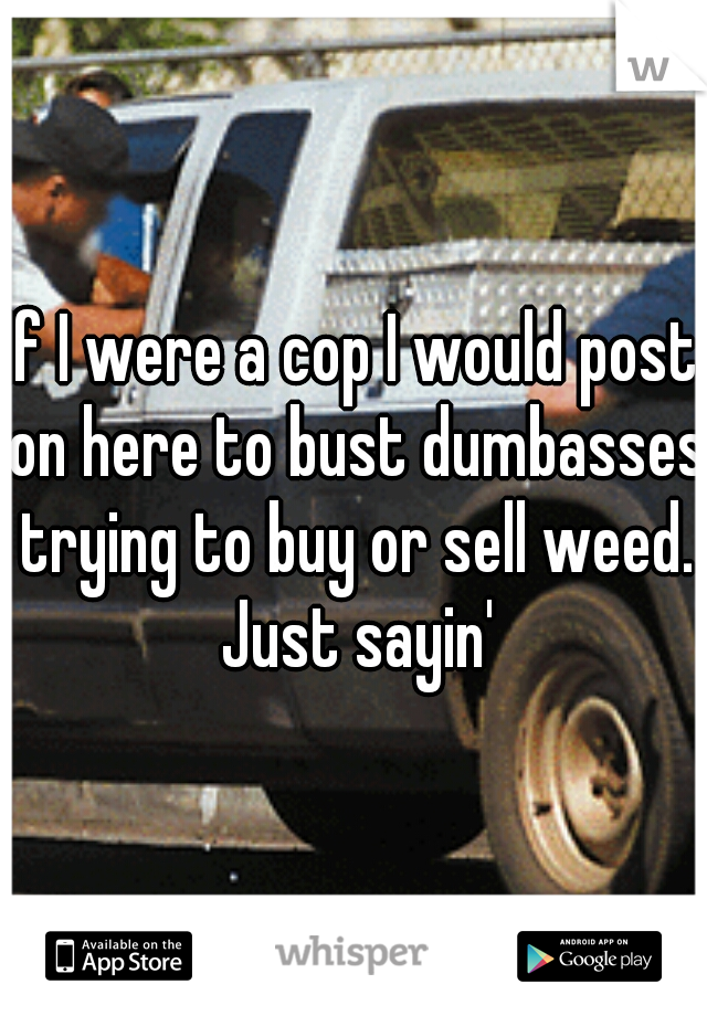 If I were a cop I would post on here to bust dumbasses trying to buy or sell weed. Just sayin'
