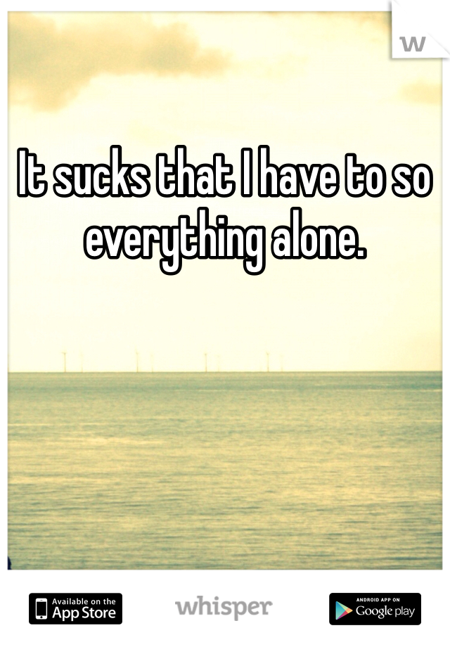 It sucks that I have to so everything alone.