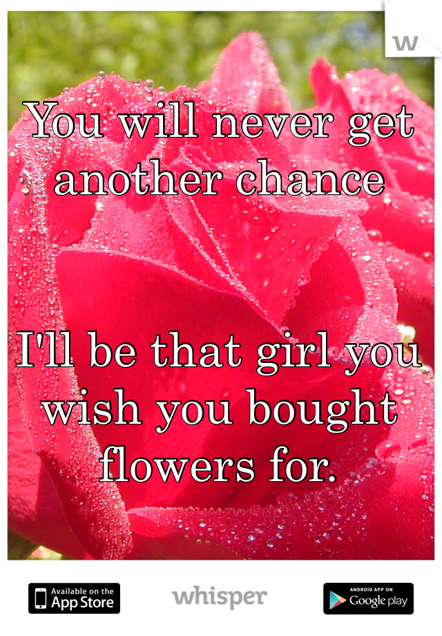 You will never get another chance   I'll be that girl you wish you bought flowers for.