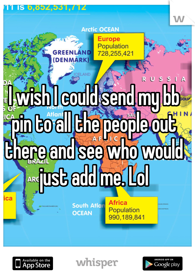 I wish I could send my bb pin to all the people out there and see who would just add me. Lol