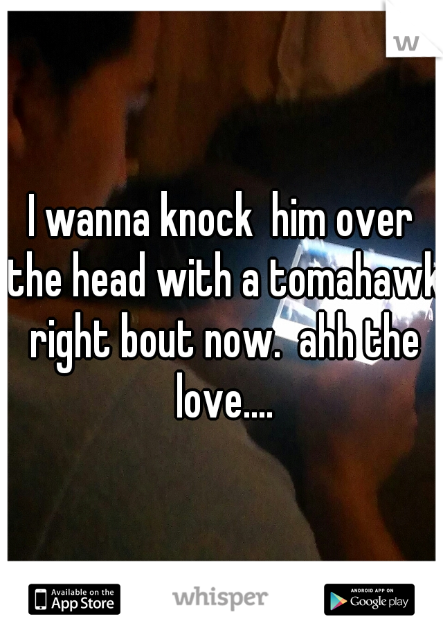 I wanna knock  him over the head with a tomahawk right bout now.  ahh the love....