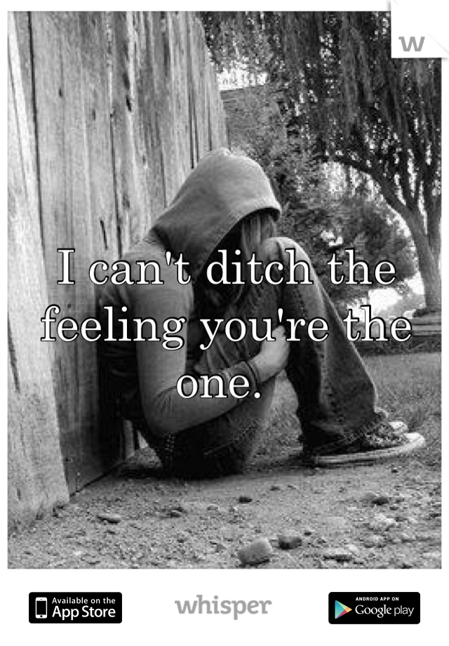I can't ditch the feeling you're the one.