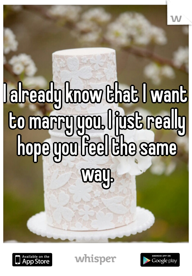 I already know that I want to marry you. I just really hope you feel the same way.