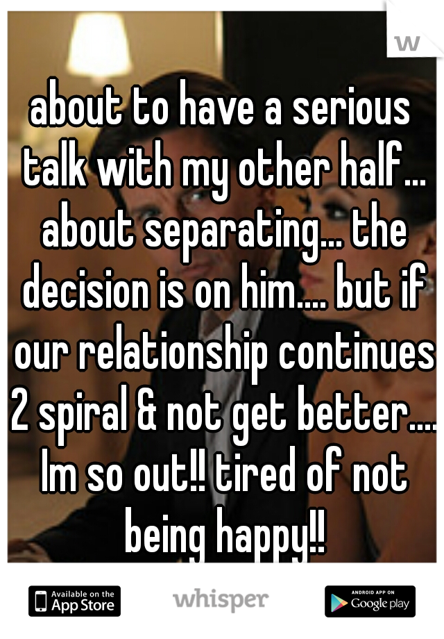 about to have a serious talk with my other half... about separating... the decision is on him.... but if our relationship continues 2 spiral & not get better.... Im so out!! tired of not being happy!!