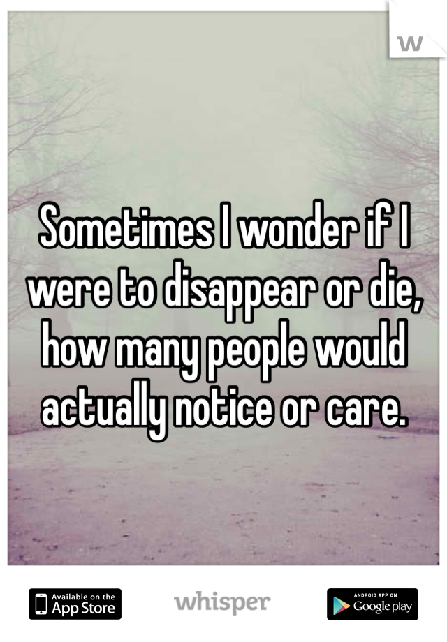 Sometimes I wonder if I were to disappear or die, how many people would actually notice or care.