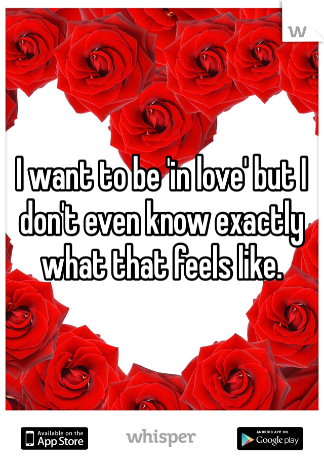 I want to be 'in love' but I don't even know exactly what that feels like.