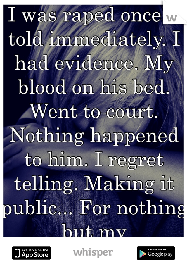 I was raped once. I told immediately. I had evidence. My blood on his bed. Went to court. Nothing happened to him. I regret telling. Making it public... For nothing but my embarrassment.