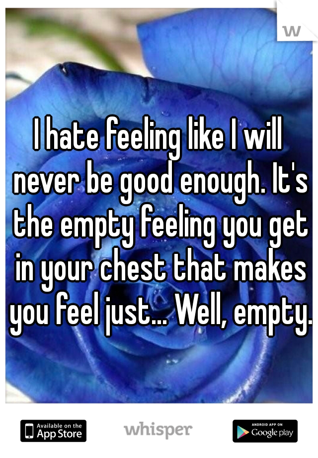 I hate feeling like I will never be good enough. It's the empty feeling you get in your chest that makes you feel just... Well, empty.