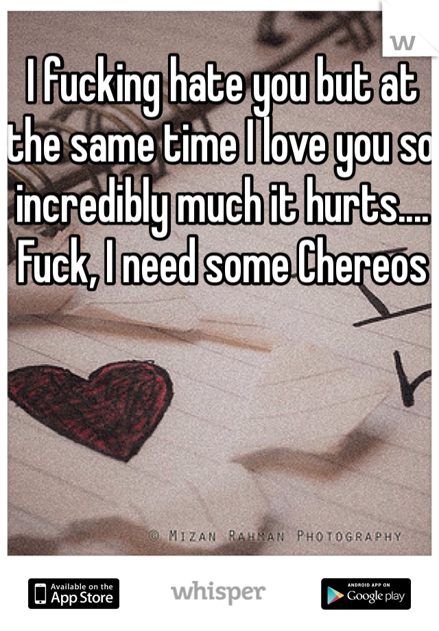 I fucking hate you but at the same time I love you so incredibly much it hurts.... Fuck, I need some Chereos