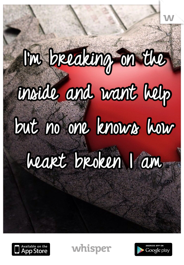 I'm breaking on the inside and want help but no one knows how heart broken I am
