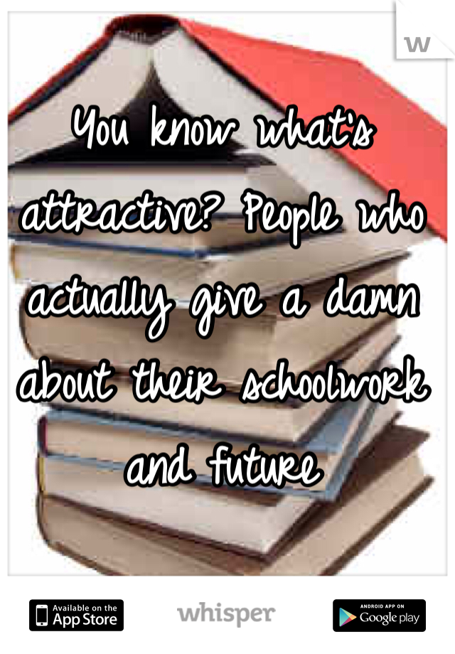 You know what's attractive? People who actually give a damn about their schoolwork and future