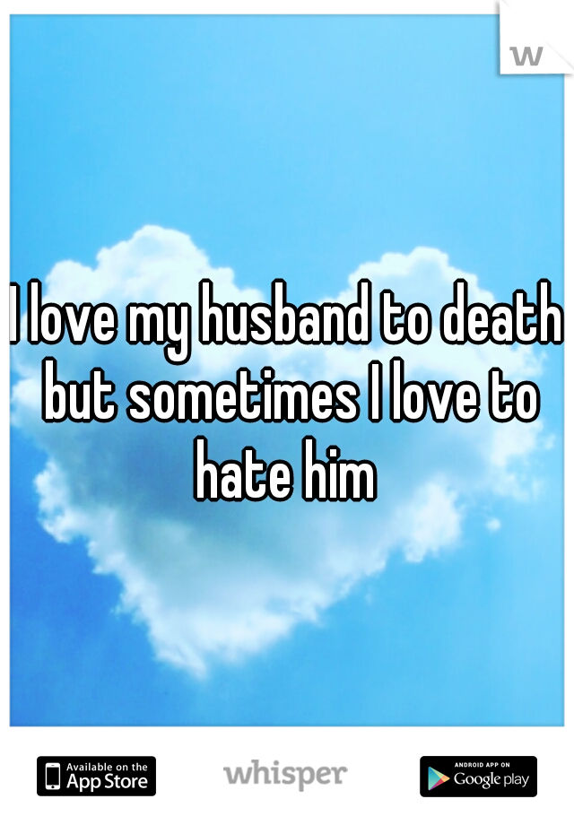 I love my husband to death but sometimes I love to hate him