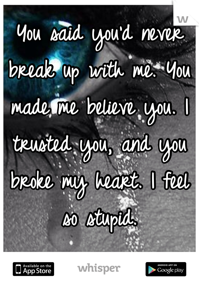 You said you'd never break up with me. You made me believe you. I trusted you, and you broke my heart. I feel so stupid.