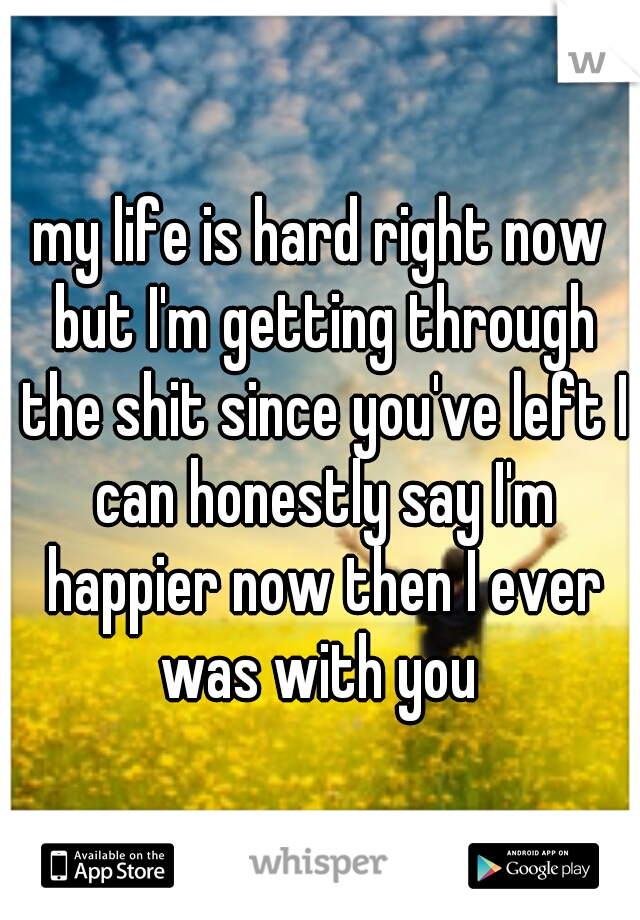 my life is hard right now but I'm getting through the shit since you've left I can honestly say I'm happier now then I ever was with you