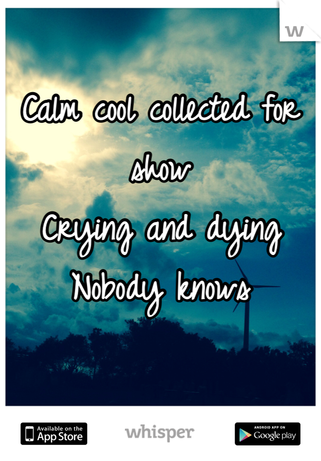 Calm cool collected for show Crying and dying  Nobody knows