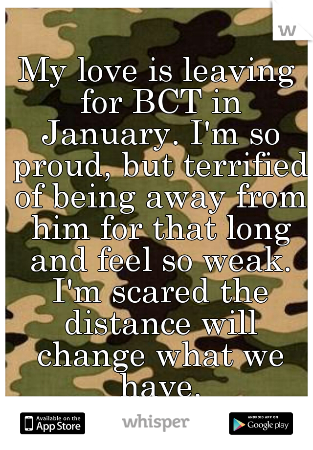 My love is leaving for BCT in January. I'm so proud, but terrified of being away from him for that long and feel so weak. I'm scared the distance will change what we have.